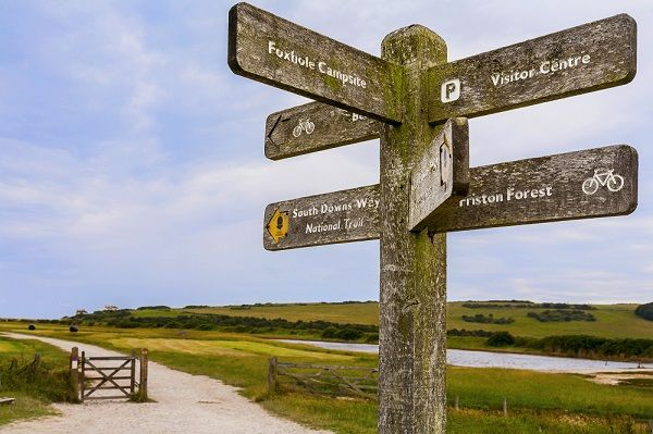 Signpost on the South Downs Way at Cuckmere Haven